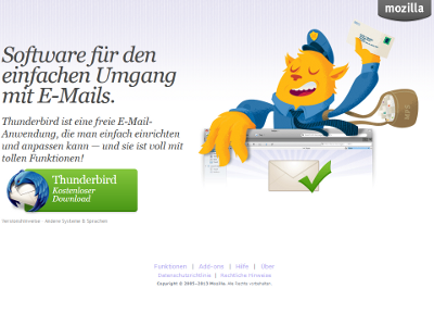 Bild: Screenshot zum Download des Thunderbird
